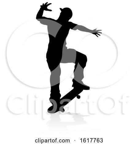 Silhouette Skater Skateboarder, on a white background by AtStockIllustration