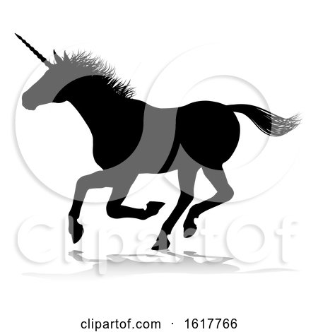 Unicorn Silhouette Horned Horse, on a white background by AtStockIllustration