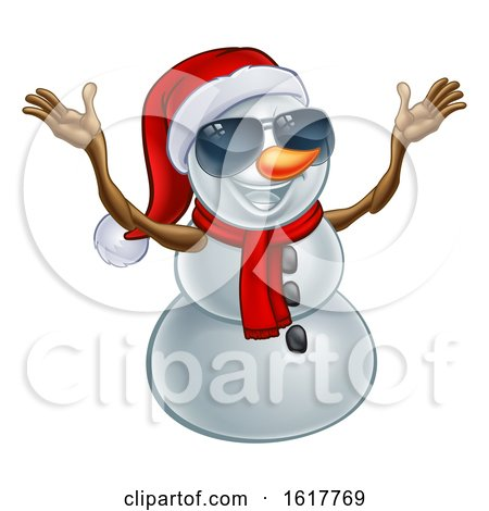 Happy Snowman Wearing a Santa Hat and Sunglasses by AtStockIllustration