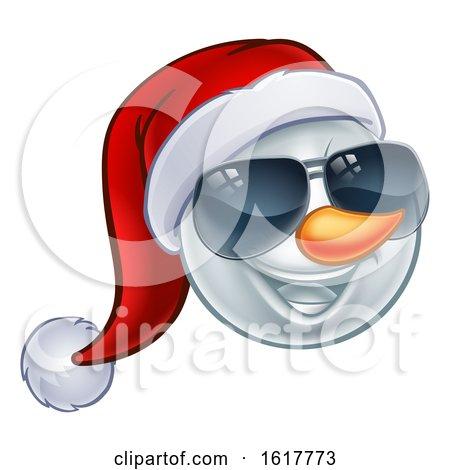 Cool Christmas Snowman Santa Hat Sunglasses Emoji by AtStockIllustration