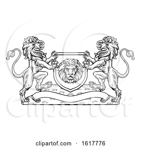 Lions Heraldic Crest Coat of Arms Shield Emblem by AtStockIllustration