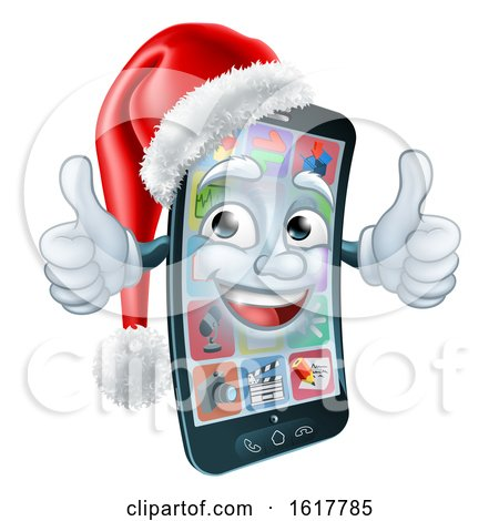 Mobile Cell Phone Christmas Mascot in Santa Hat by AtStockIllustration