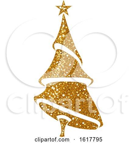 Golden Glitter Christmas Tree by dero