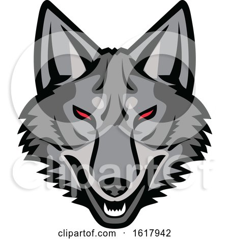 Gray Coyote Mascot Head with Red Eyes by patrimonio