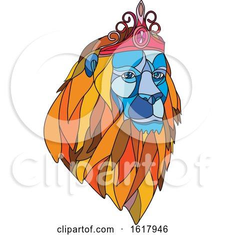 Lion Wearing Tiara Mosaic Color by patrimonio
