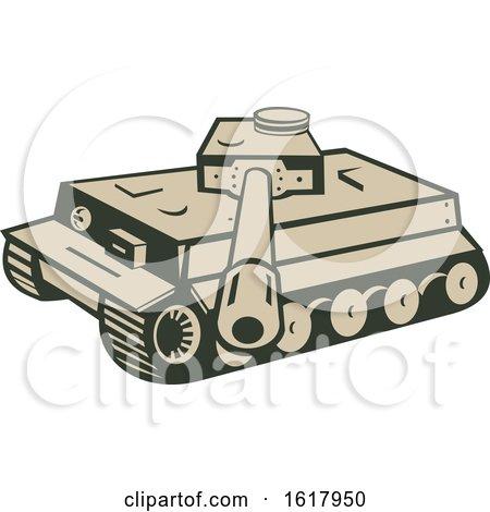 German World War Two Panzer Battle Tank Aiming Cannon by patrimonio