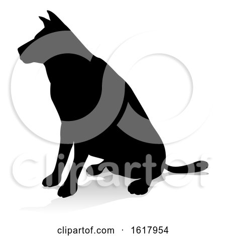 Dog Pet Animal Silhouette, on a white background by AtStockIllustration