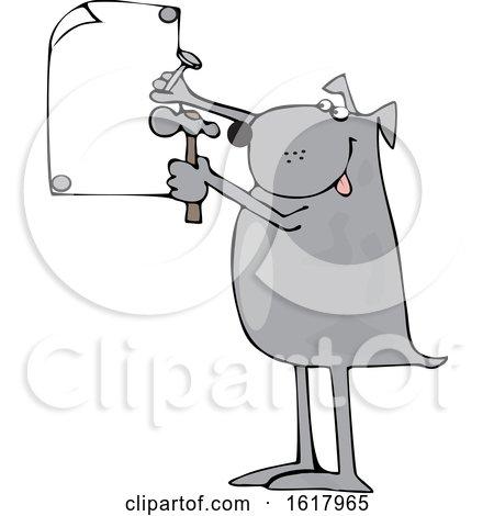 Cartoon Dog Nailing a Sign by djart