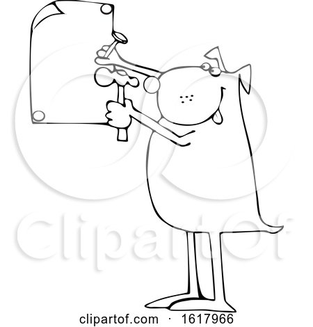 Cartoon Black and White Dog Nailing a Sign by djart