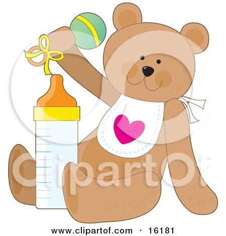 Cute Brown Teddy Bear Wearing A White Bib With A Heart, Sitting With A Baby Bottle And Shaking A Rattle Clipart Illustration Image by Maria Bell