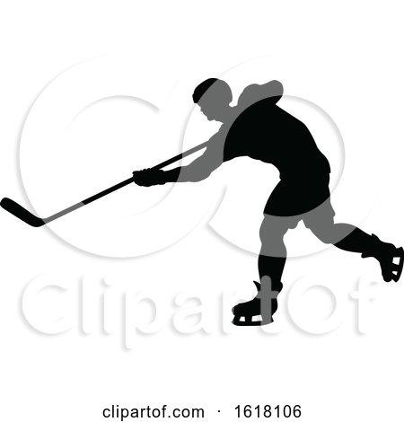 Hockey Player Sports Silhouettes by AtStockIllustration