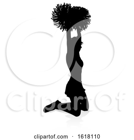 Cheerleader Pom Poms Silhouette, on a white background by AtStockIllustration