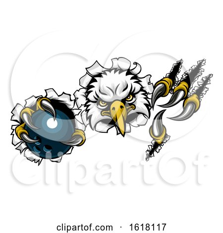 Eagle Bowling Cartoon Mascot Ripping Background by AtStockIllustration