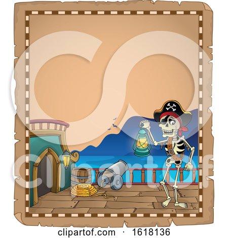 Pirate Skeleton Parchment Border by visekart
