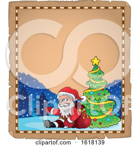Parchment Christmas Border with Santa by visekart