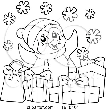 Black and White Christmas Penguin with Gifts by visekart