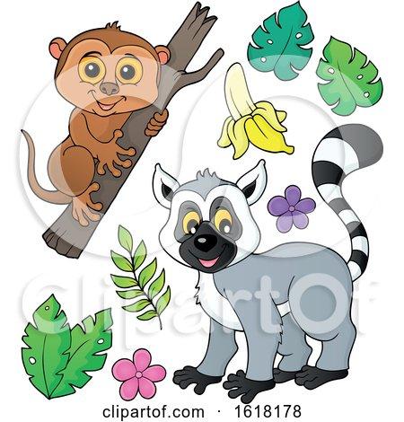 Happy Lemur and Tarsier by visekart