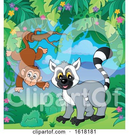 Happy Lemur and Monkey by visekart