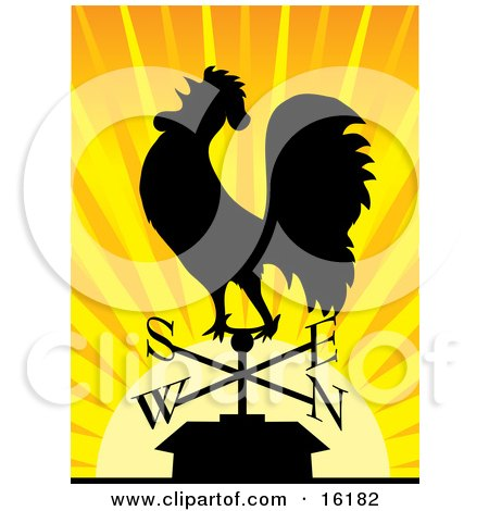 Silhouetted Rooster Crowing On A Weathervane At Sunrise Posters, Art Prints
