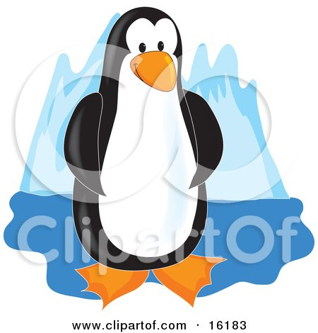 Adorable Black And White Penguin Standing On Ice Clipart Illustration Image by Maria Bell
