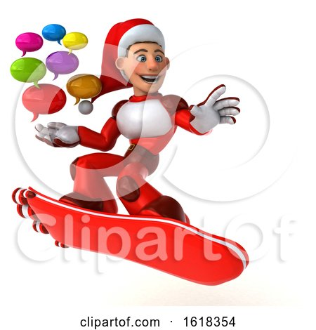 3d White Male Super Hero Christmas Santa, with a Hover Skateboard, on a White Background by Julos