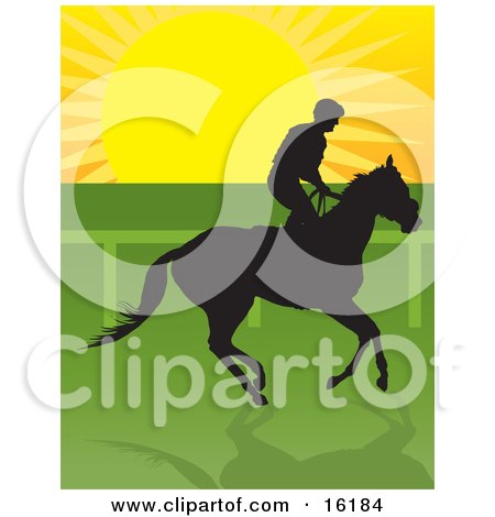 Jockey Riding A Horse And Silhouetted Against The Sunrise Clipart Illustration Image by Maria Bell