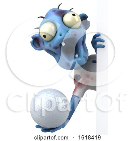 3d Blue Zombie, on a White Background by Julos