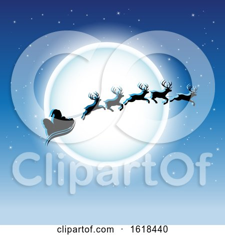Santas Sleigh Flying Against a Full Moon on Blue by cidepix