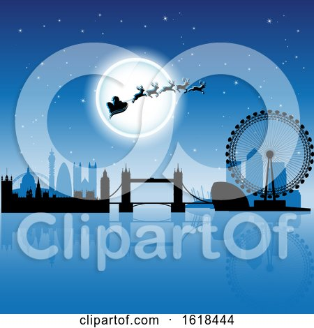 Santas Sleigh Flying Against a Full Moon over London in Blue by cidepix