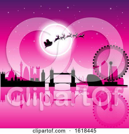 Santas Sleigh Flying Against a Full Moon over London in Pink by cidepix