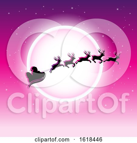 Santas Sleigh Flying Against a Full Moon on Magenta by cidepix