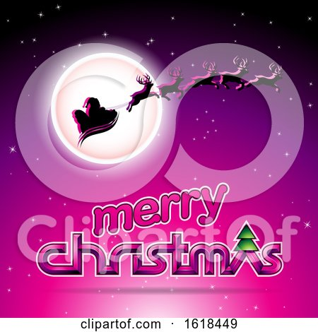 Santas Sleigh Flying Against a Full Moon over a Merry Christmas Greeting on Magenta by cidepix