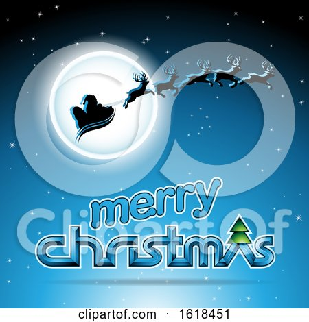 Santas Sleigh Flying Against a Full Moon over a Merry Christmas Greeting on Blue by cidepix