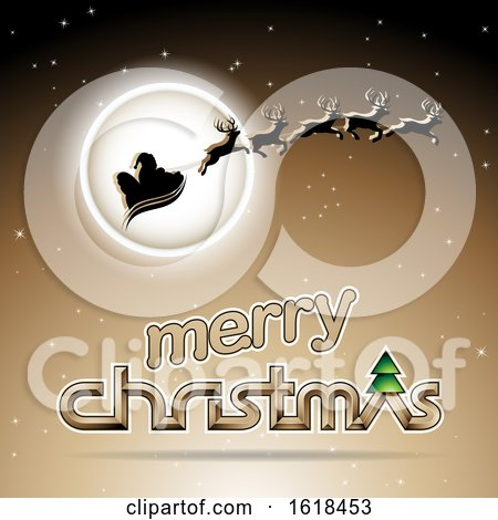 Santas Sleigh Flying Against a Full Moon over a Merry Christmas Greeting on Beige by cidepix