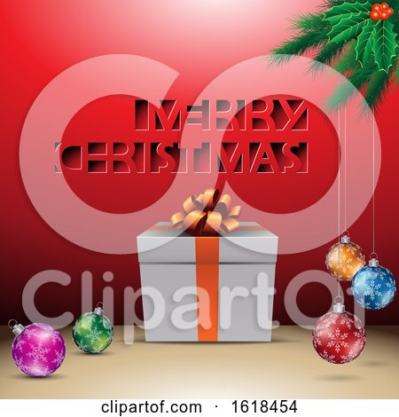 Merry Christmas Greeting with a Gift and Baubles over Red by cidepix