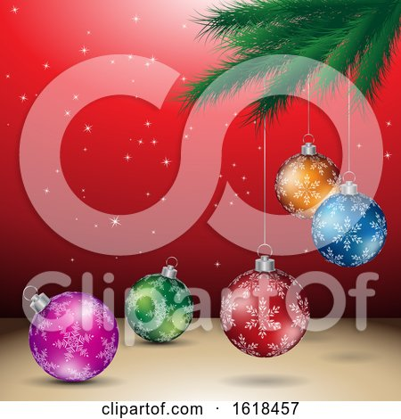 Tree Branch and Christmas Bauble Ornaments over Red by cidepix