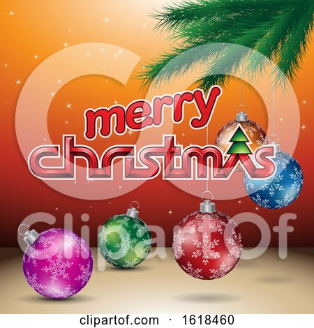 Merry Christmas Greeting with a Branch and Baubles on Orange by cidepix