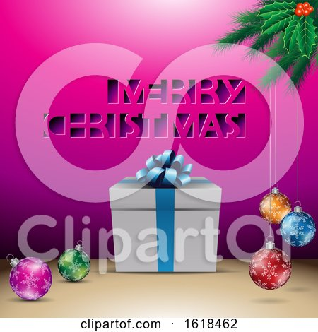 Merry Christmas Greeting with a Gift and Baubles over Magenta by cidepix