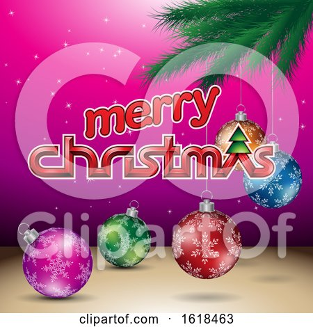 Merry Christmas Greeting with a Branch and Baubles on Magenta by cidepix