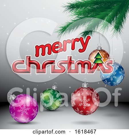 Merry Christmas Greeting with a Branch and Baubles on Gray by cidepix