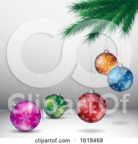 Tree Branch and Christmas Bauble Ornaments over Gray by cidepix