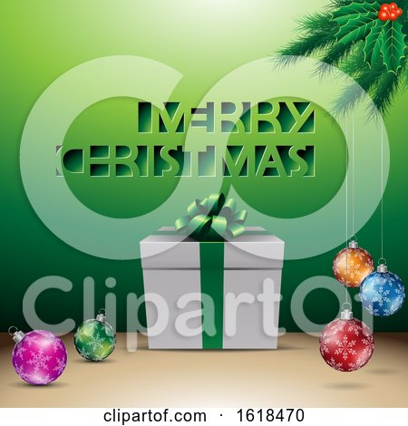 Merry Christmas Greeting with a Gift and Baubles over Green by cidepix