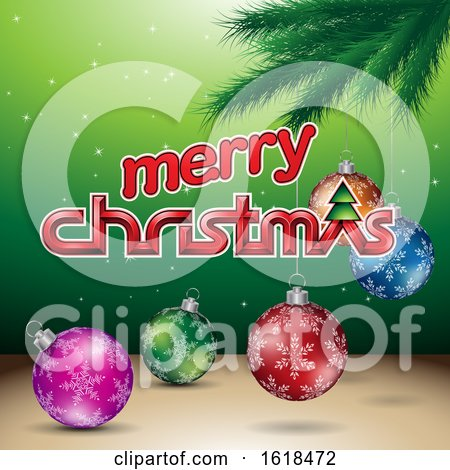 Merry Christmas Greeting with a Branch and Baubles on Green by cidepix