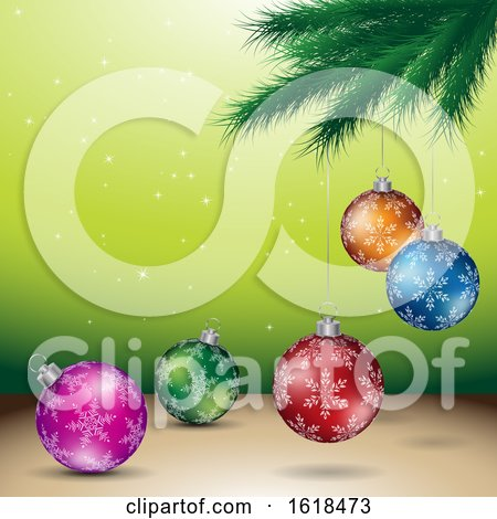 Tree Branch and Christmas Bauble Ornaments over Green by cidepix