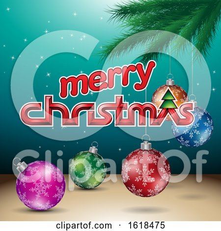 Merry Christmas Greeting with a Branch and Baubles on Turquoise by cidepix