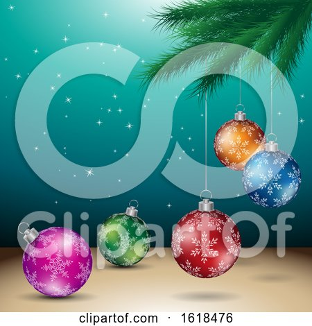 Tree Branch and Christmas Bauble Ornaments over Turquoise by cidepix