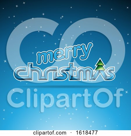 Merry Christmas Greeting in Blue by cidepix