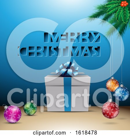 Merry Christmas Greeting with a Gift and Baubles over Blue by cidepix