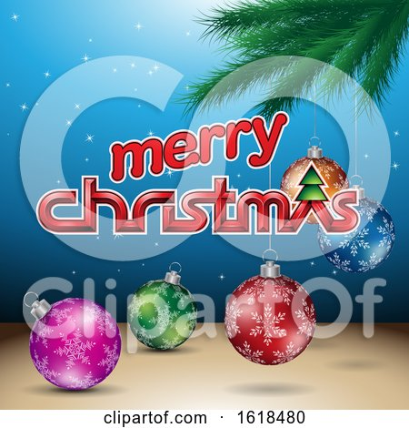 Merry Christmas Greeting with a Branch and Baubles on Blue by cidepix