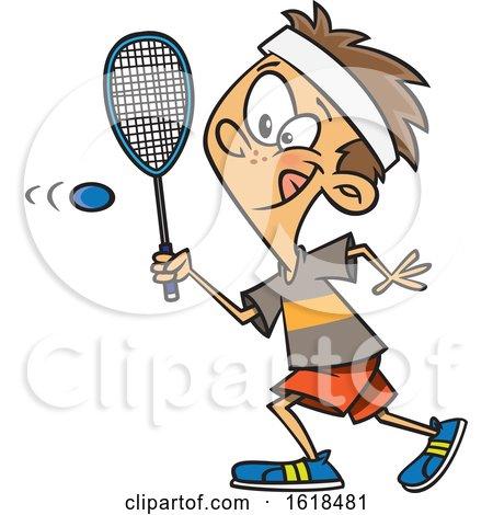 Cartoon White Boy Playing Squash by toonaday